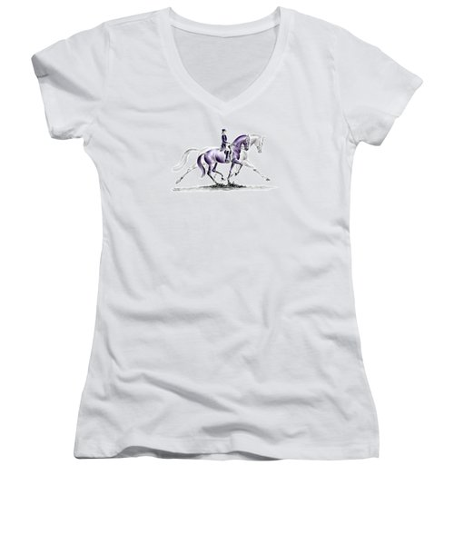 Trot On - Dressage Horse Print Color Tinted Women's V-Neck T-Shirt (Junior Cut) by Kelli Swan