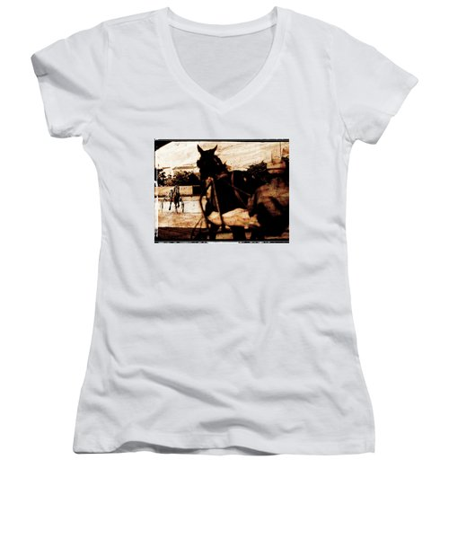 Women's V-Neck T-Shirt (Junior Cut) featuring the photograph trotting 1 - Harness racing in a vintage post processing by Pedro Cardona
