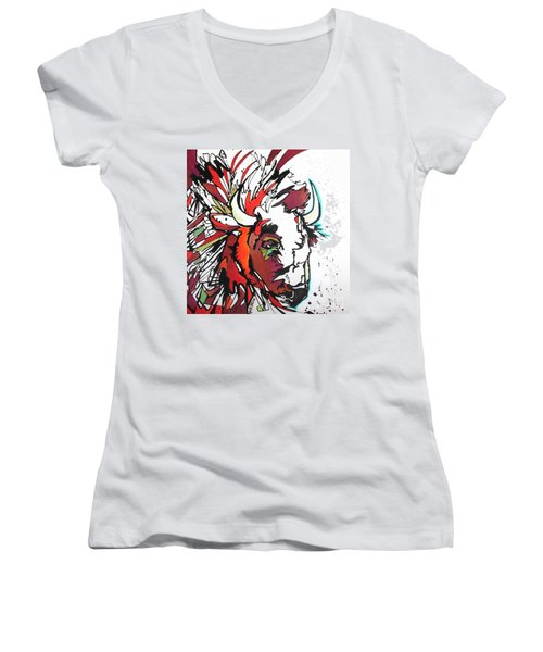 Women's V-Neck T-Shirt (Junior Cut) featuring the painting Trouble by Nicole Gaitan