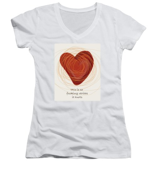 Women's V-Neck T-Shirt (Junior Cut) featuring the painting True Love by Frank Tschakert