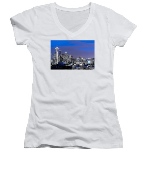 True To The Blue In Seattle Women's V-Neck T-Shirt (Junior Cut) by Ken Stanback