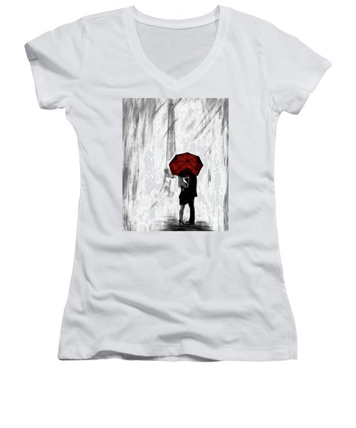 Women's V-Neck T-Shirt featuring the painting Truly All Yours by Leslie Allen