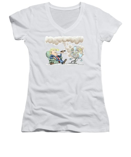 Trump And The World On Climate Women's V-Neck