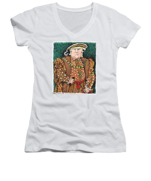 Trump As King Henry Viii Women's V-Neck