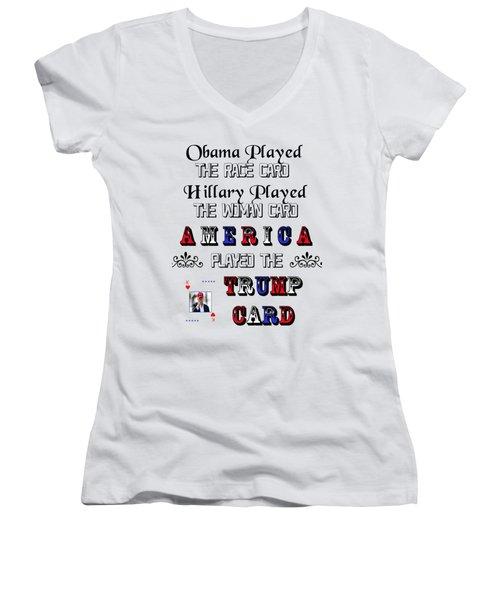 Trump Card Women's V-Neck T-Shirt (Junior Cut) by Ericamaxine Price