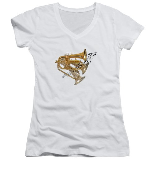 Trumpet Fanfare Women's V-Neck T-Shirt (Junior Cut) by Gill Billington