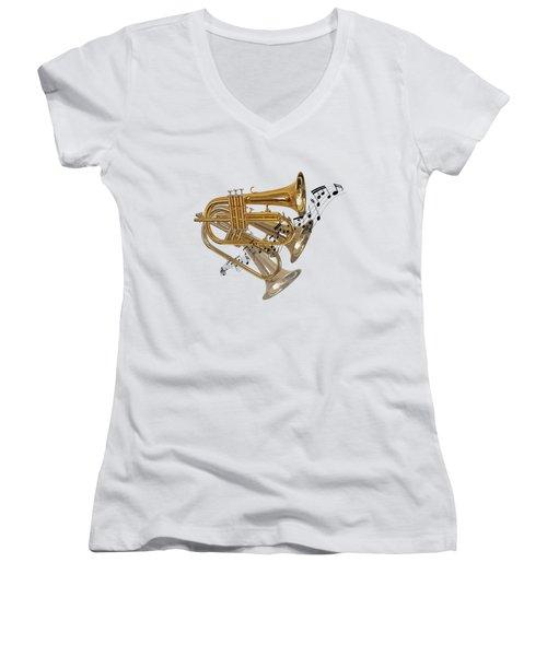 Trumpet Fanfare Women's V-Neck (Athletic Fit)
