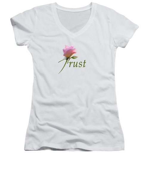 Women's V-Neck T-Shirt (Junior Cut) featuring the digital art Trust by Ann Lauwers