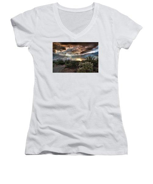 Women's V-Neck T-Shirt (Junior Cut) featuring the photograph Tucson Mountain Sunset by Lynn Geoffroy
