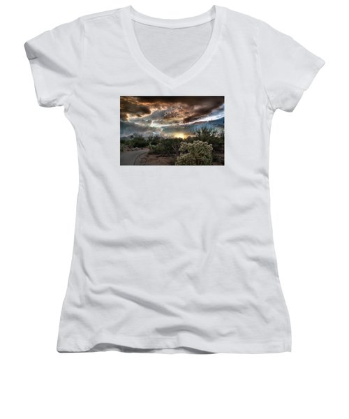Women's V-Neck featuring the photograph Tucson Mountain Sunset by Lynn Geoffroy