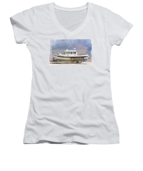 Women's V-Neck T-Shirt (Junior Cut) featuring the painting Tugboat by Cynthia Powell