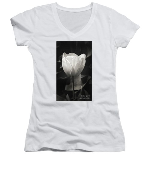 Tulip In Black And White Women's V-Neck (Athletic Fit)