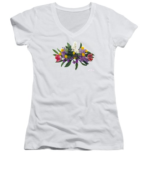 Women's V-Neck T-Shirt (Junior Cut) featuring the digital art Tulip Lilac And Dandelion Bouquet by Lise Winne