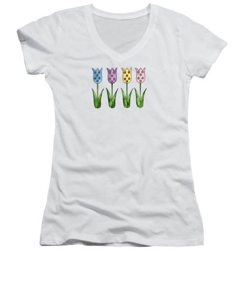 Tulip Row Women's V-Neck T-Shirt (Junior Cut) by Shelley Wallace Ylst