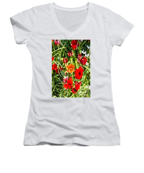 Women's V-Neck T-Shirt (Junior Cut) featuring the photograph Tulip - The Orange One 03 by Arik Baltinester