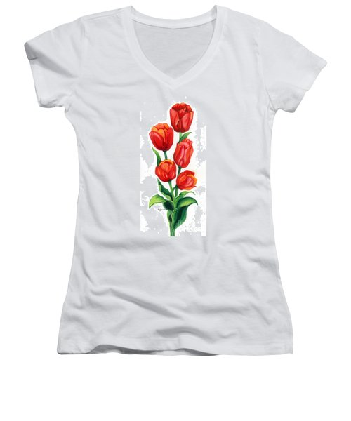 Women's V-Neck T-Shirt (Junior Cut) featuring the painting Tulip Time by Barbara Jewell