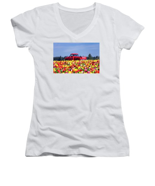 Tulips And Red Chevy Truck Women's V-Neck (Athletic Fit)
