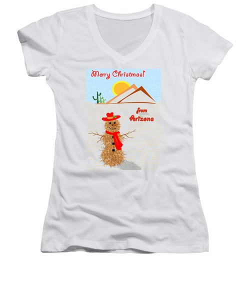 Tumbleweed Snowman Christmas Card Women's V-Neck T-Shirt (Junior Cut) by Methune Hively