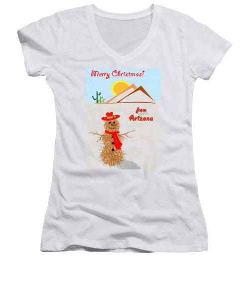 Tumbleweed Snowman Christmas Card Women's V-Neck T-Shirt