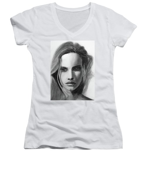 Women's V-Neck T-Shirt featuring the drawing Turn Of A Friendly Card by Jarko Aka Lui Grande