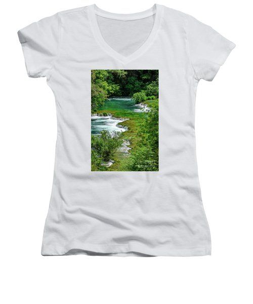 Turqouise Waterfalls Of Skradinski Buk At Krka National Park In Croatia Women's V-Neck (Athletic Fit)