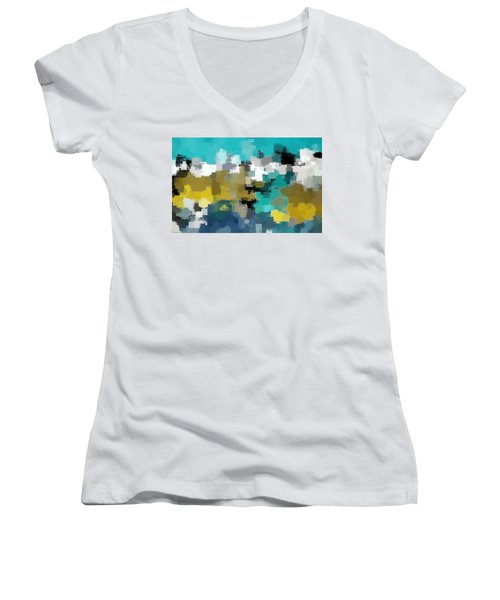 Turquoise And Gold Women's V-Neck