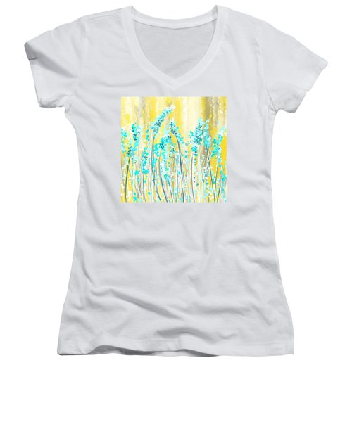 Turquoise And Yellow Women's V-Neck T-Shirt
