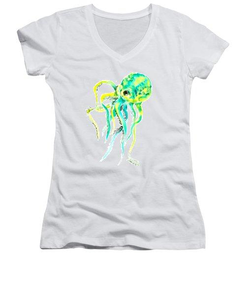 Turquoise Green Octopus Women's V-Neck T-Shirt (Junior Cut) by Suren Nersisyan