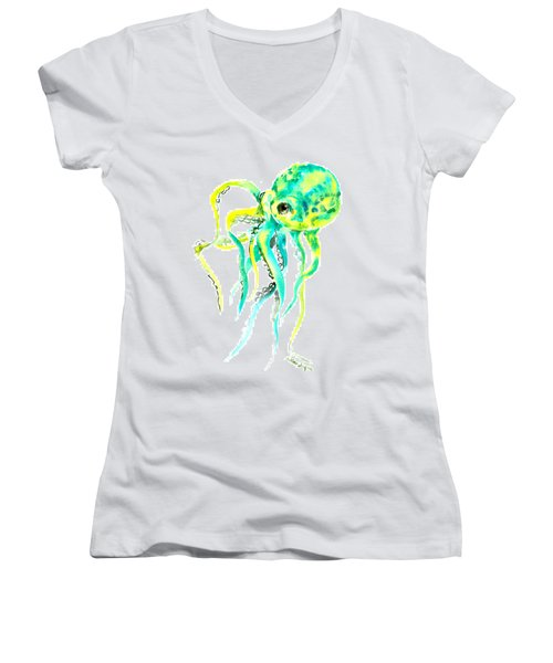 Turquoise Green Octopus Women's V-Neck T-Shirt