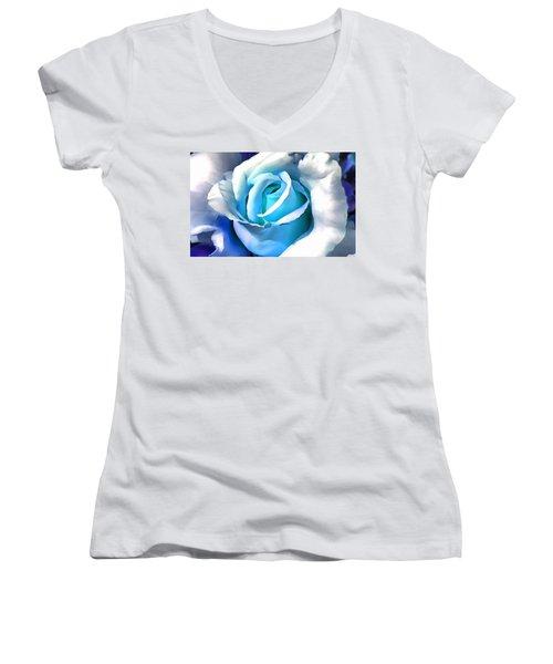 Turquoise Rose Women's V-Neck