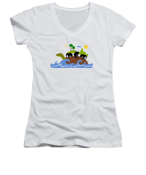 Turtles All The Way Down Women's V-Neck T-Shirt (Junior Cut) by Anastasiya Malakhova