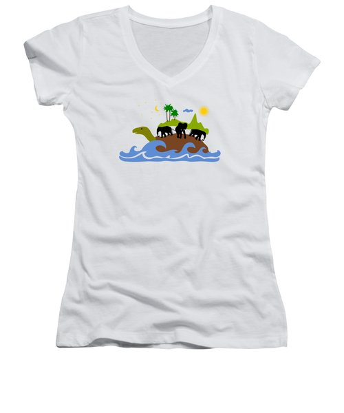 Turtles All The Way Down Women's V-Neck