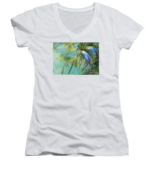 Two Pale-faced Rosellas Women's V-Neck