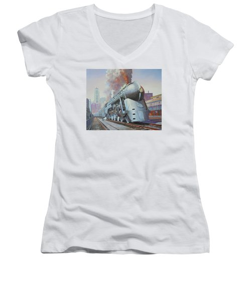 Twenthieth Century Limited Women's V-Neck T-Shirt (Junior Cut) by Mike Jeffries