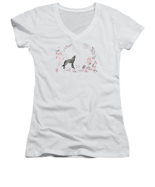 Twilight Wolf Women's V-Neck T-Shirt (Junior Cut) by Amanda Lakey