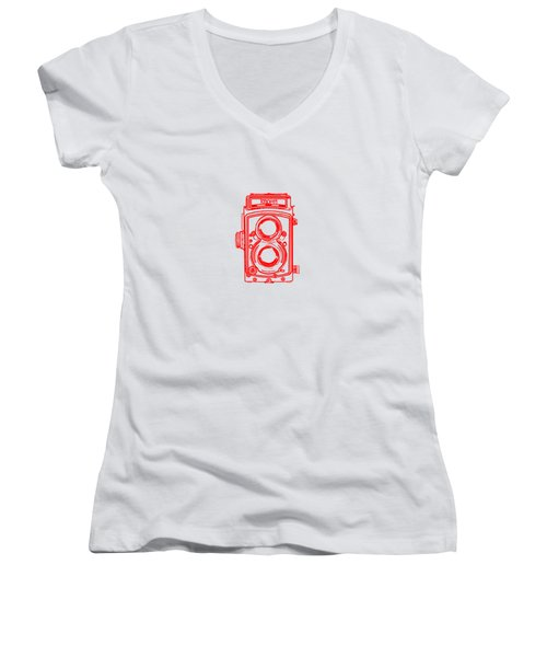 Women's V-Neck T-Shirt (Junior Cut) featuring the drawing Twin Lens Camera by Setsiri Silapasuwanchai