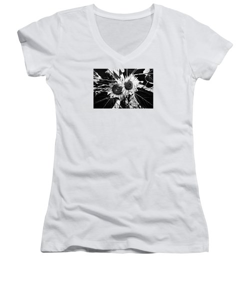 Twin Sunflowers Women's V-Neck T-Shirt (Junior Cut) by Kevin Cable