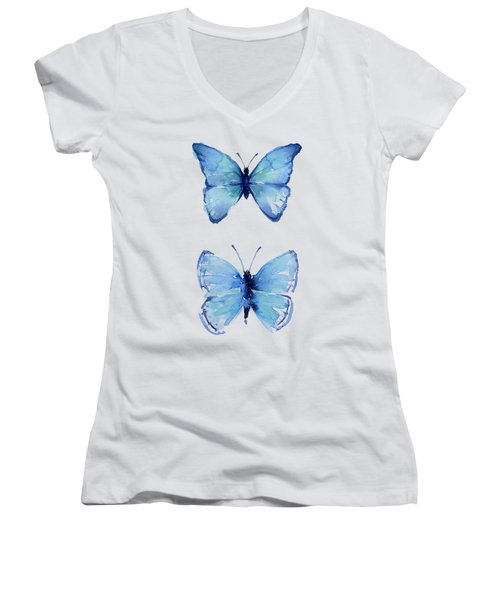 Two Blue Butterflies Watercolor Women's V-Neck (Athletic Fit)
