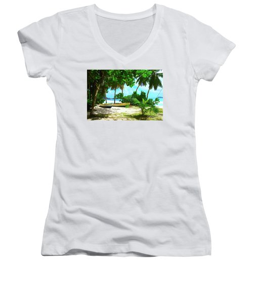 Two Boats On Tropical Beach Women's V-Neck (Athletic Fit)