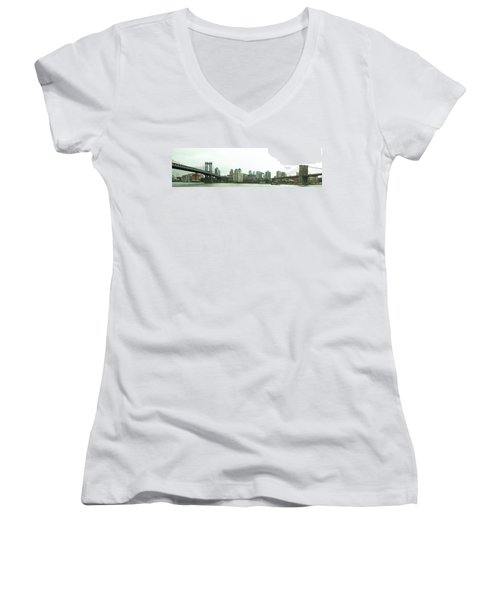 Women's V-Neck featuring the photograph Two Bridges by Robert Knight