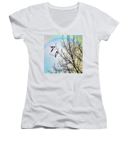 Two For Joy #nurseryrhyme Women's V-Neck T-Shirt (Junior Cut) by John Edwards