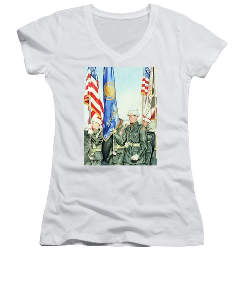 Two Months After 9-11  Veteran's Day 2001 Women's V-Neck T-Shirt