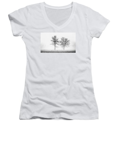 Women's V-Neck T-Shirt (Junior Cut) featuring the photograph Two... by Nina Stavlund