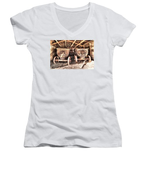 Women's V-Neck T-Shirt (Junior Cut) featuring the photograph Two Old Wagons by Jeff Swan