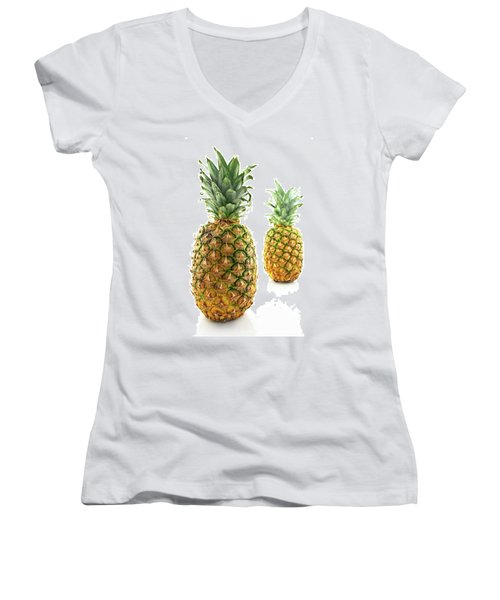 Two Ripe Pineapples, Focus On The Closest One Women's V-Neck (Athletic Fit)
