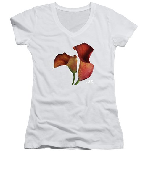 Two Rust Calla Lilies Square Women's V-Neck T-Shirt (Junior Cut) by Heather Kirk