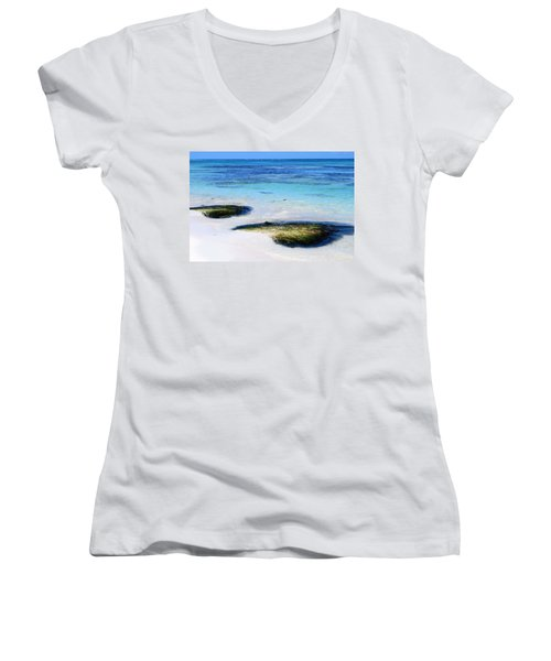 Two Seaweed Mounds On Punta Cana Resort Beach Women's V-Neck T-Shirt (Junior Cut) by Heather Kirk