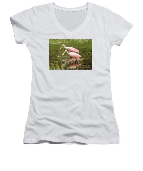 Two Spoonbills In Pond Women's V-Neck T-Shirt (Junior Cut)