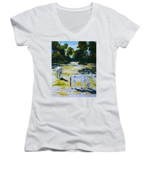 Sunlit Women's V-Neck T-Shirt (Junior Cut) by Hartmut Jager