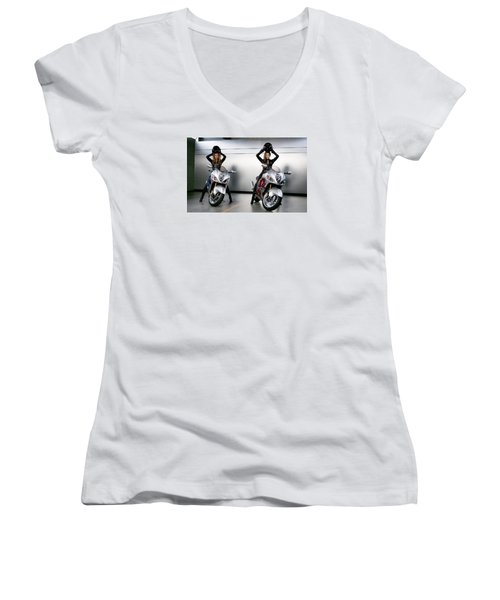 Women's V-Neck T-Shirt (Junior Cut) featuring the photograph Two To Go And Go And Go. by Lawrence Christopher